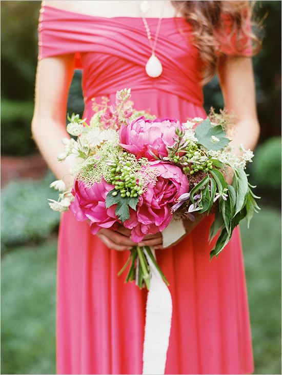 soft and feminine look of the bridesmaid dress