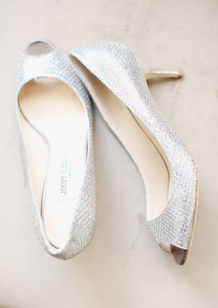 What wedding shoes are you wearing ? | wedding shoes,Silver Jimmy Choos | Photography: Kay English