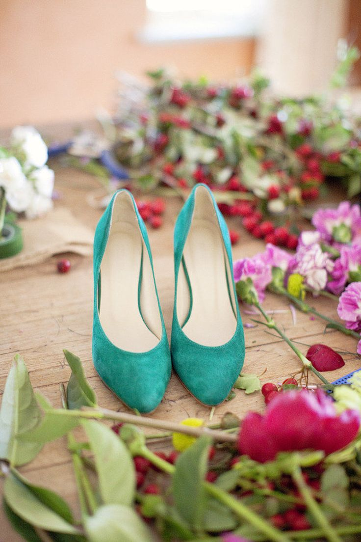 Teal wedding shoes,green wedding shoes | Photography by angelahiggins.com