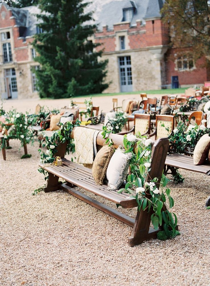 12 ways to make you wedding aisle look fabulous use a mix of benches and chairs to create unique wedding ceremony seating junglespirit Image collections