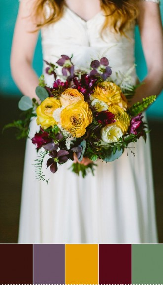 Yellow and Purple Autumn wedding bouquet | fabmood.com