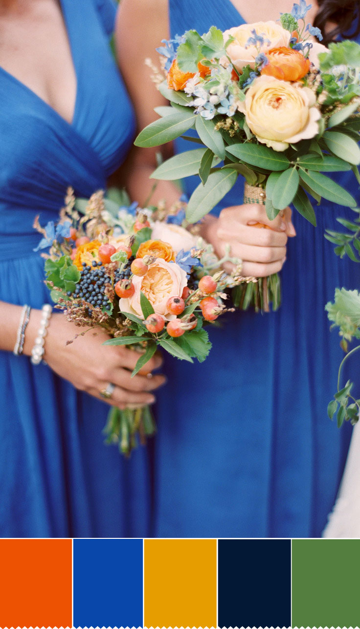 Blue and orange Autumn wedding bouquet | fabmood.com