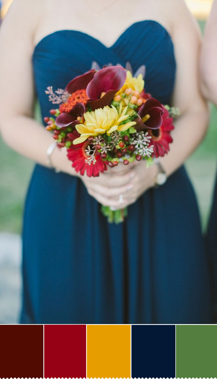 Red and Yellow Autumn wedding bouquet | fabmood.com
