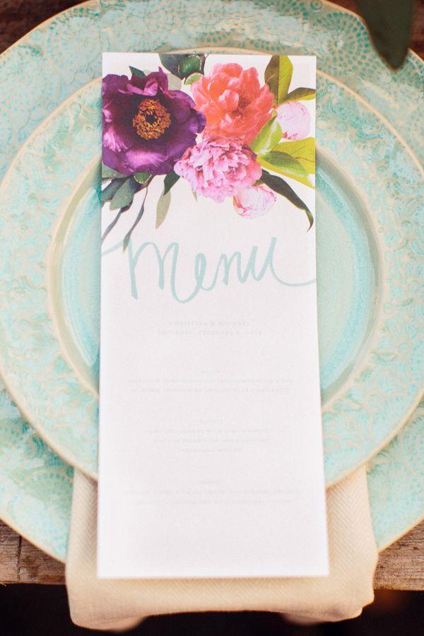 Floral Menu Cards - bright summer wedding colour palette