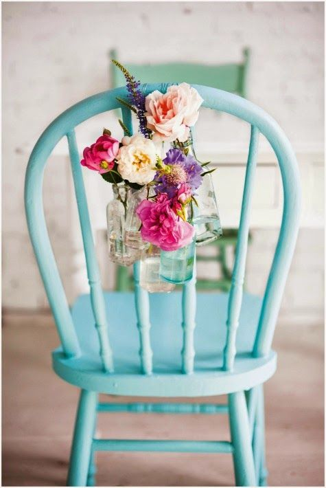 Wedding chair decorate With Flowers - bright summer wedding colour palette