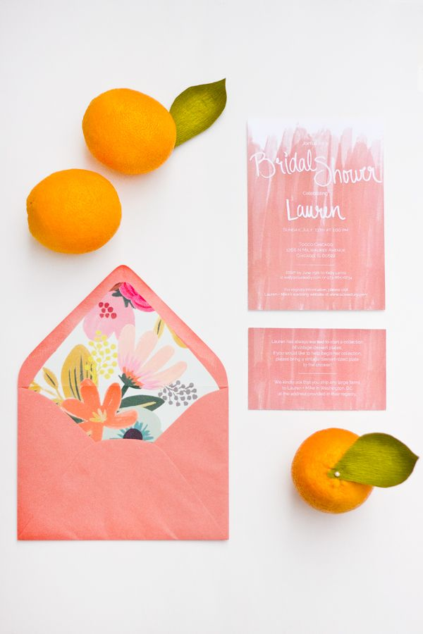 Citrus and pink wedding ideas | bridal shower invitation