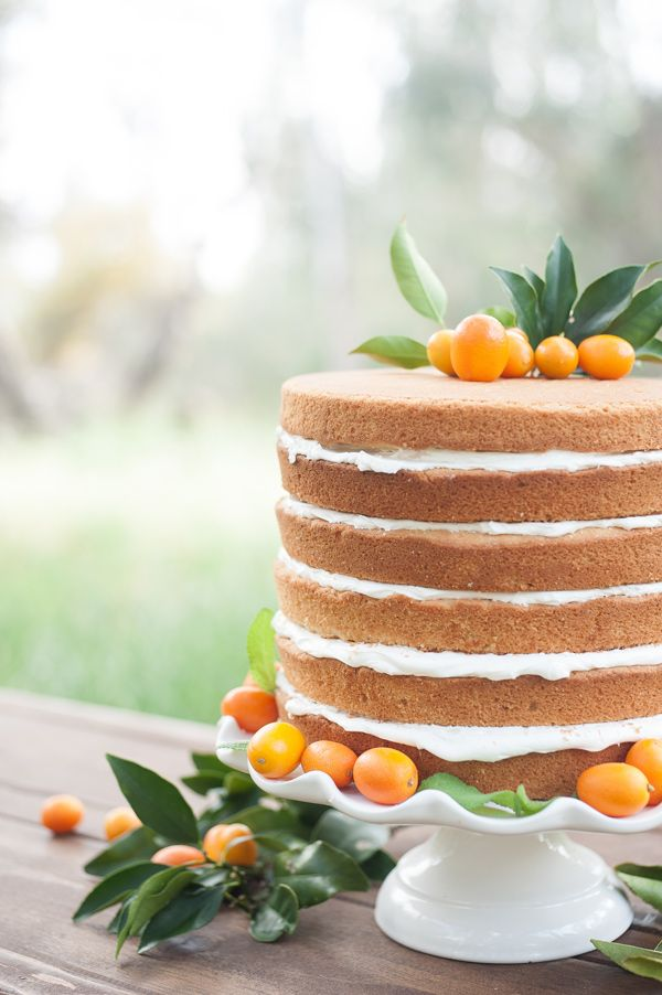 Naked citrus wedding cake