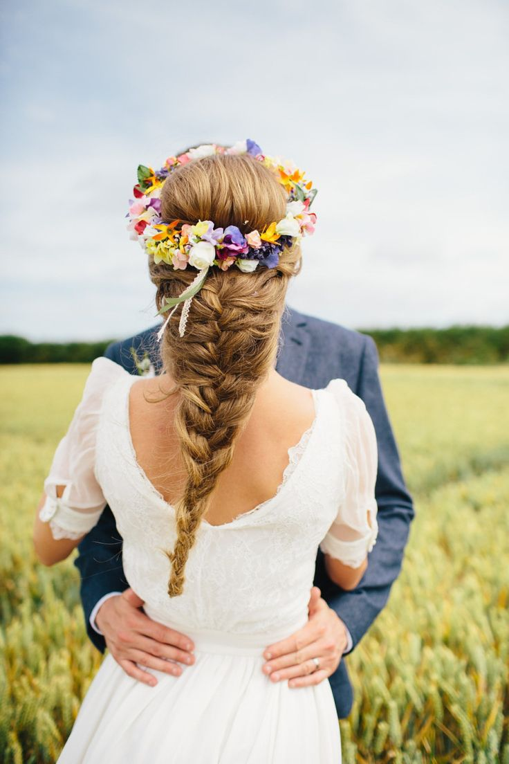 A Fishtail Braid and a Colourful Floral Crown for a Whimsical Wedding | fabmood.com