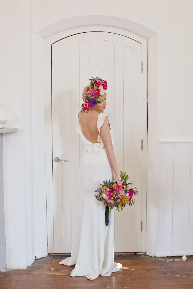 Oversized floral crown and brightly coloured bouquet | fabmood.com