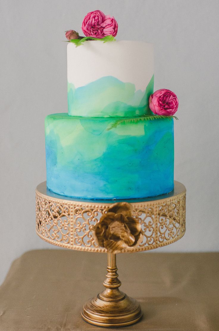 Water colour cake - Summer Wedding Cakes Photos,summer wedding cake ideas