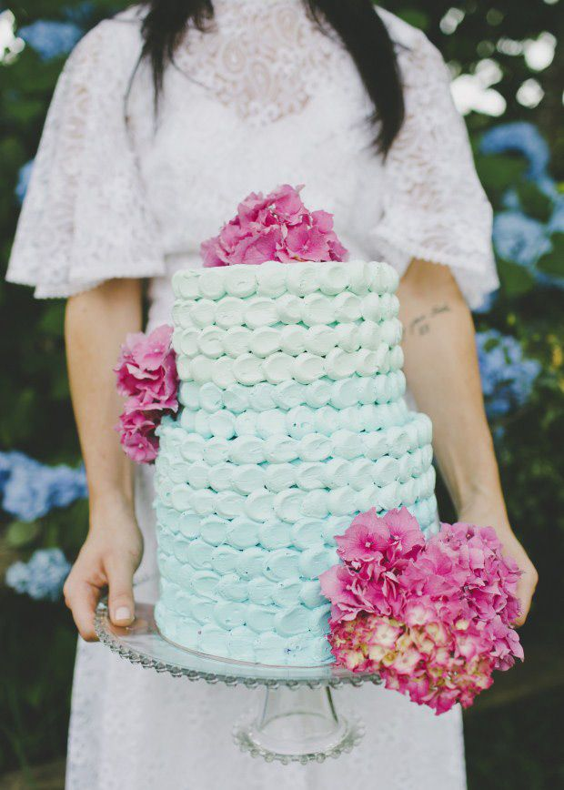 Summer Wedding Cakes Photos,summer wedding cake ideas - aqua wedding cake with pretty pink florals