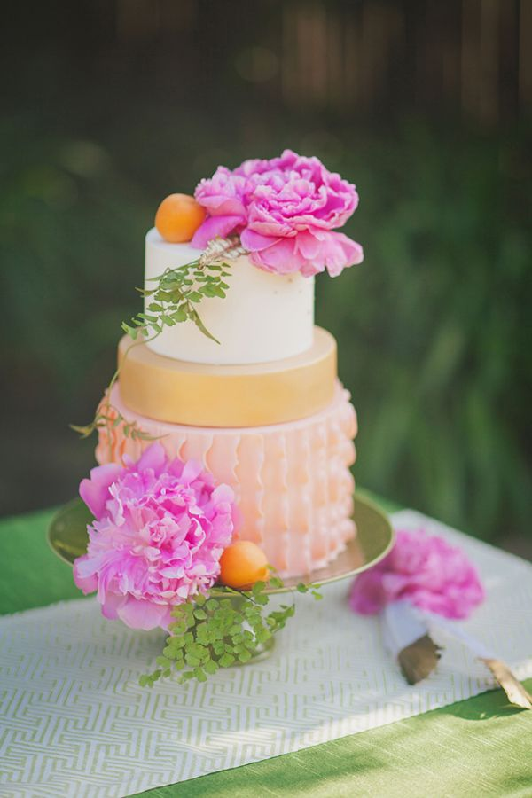 Peach and pink wedding cake for Summer Wedding Cakes Photos,summer wedding cake ideas
