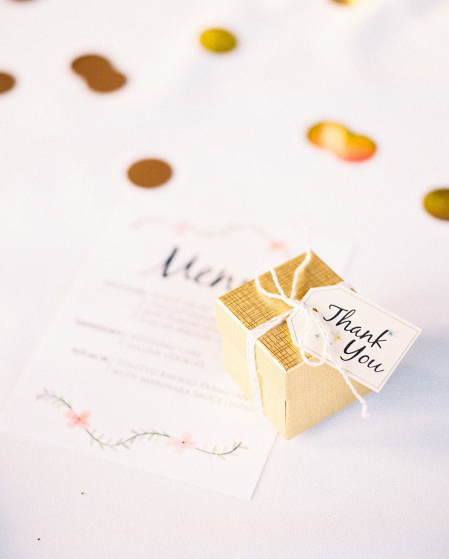 blush and gold wedding palette - simply gold wedding favor box
