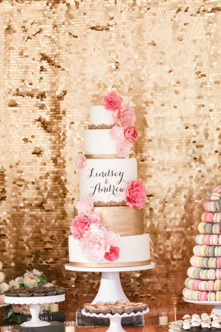 Blush and gold desserts will impress all the guests and add a chic touch to your big day.