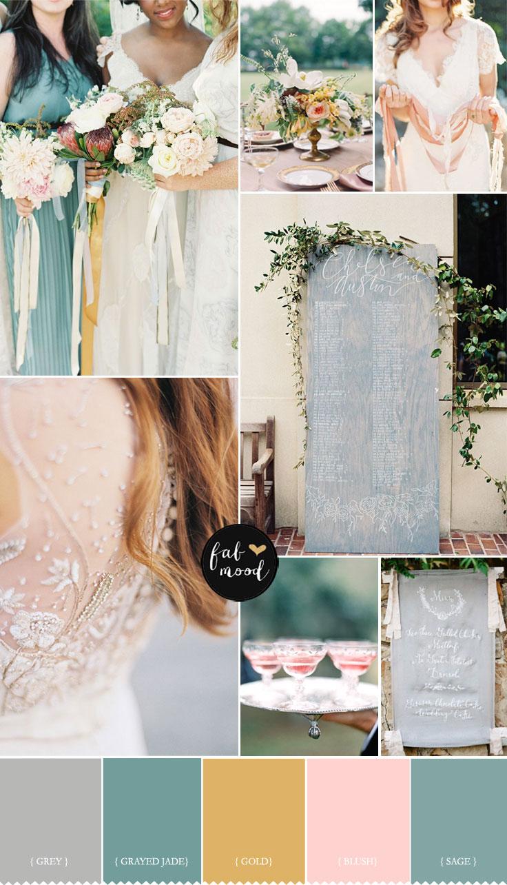 Blush,Grey ,grayed jade ,gold and sage wedding palette | fabmood.com