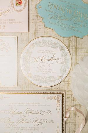 Gold Mint and Teal Wedding Palette { Vintage hint } : gold elegant wedding invitation