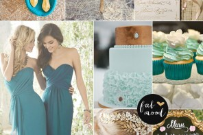 Gold mint and teal wedding