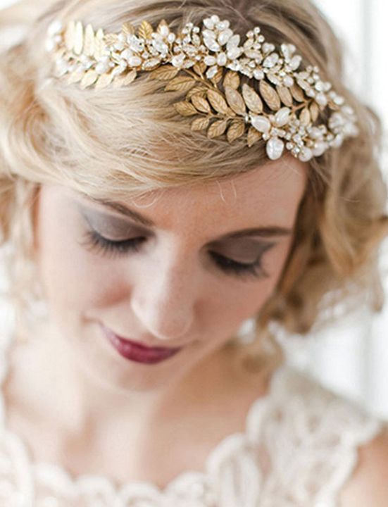 get the elegant look like - gold sparkly bridal hair accesories