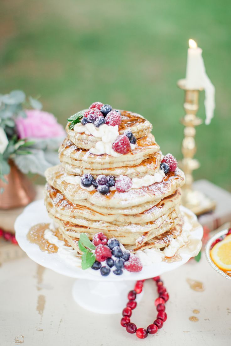Pancake as a Wedding Cake with summer fruits.