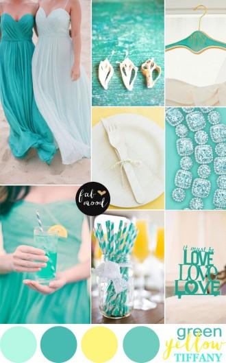 yellow green beach wedding