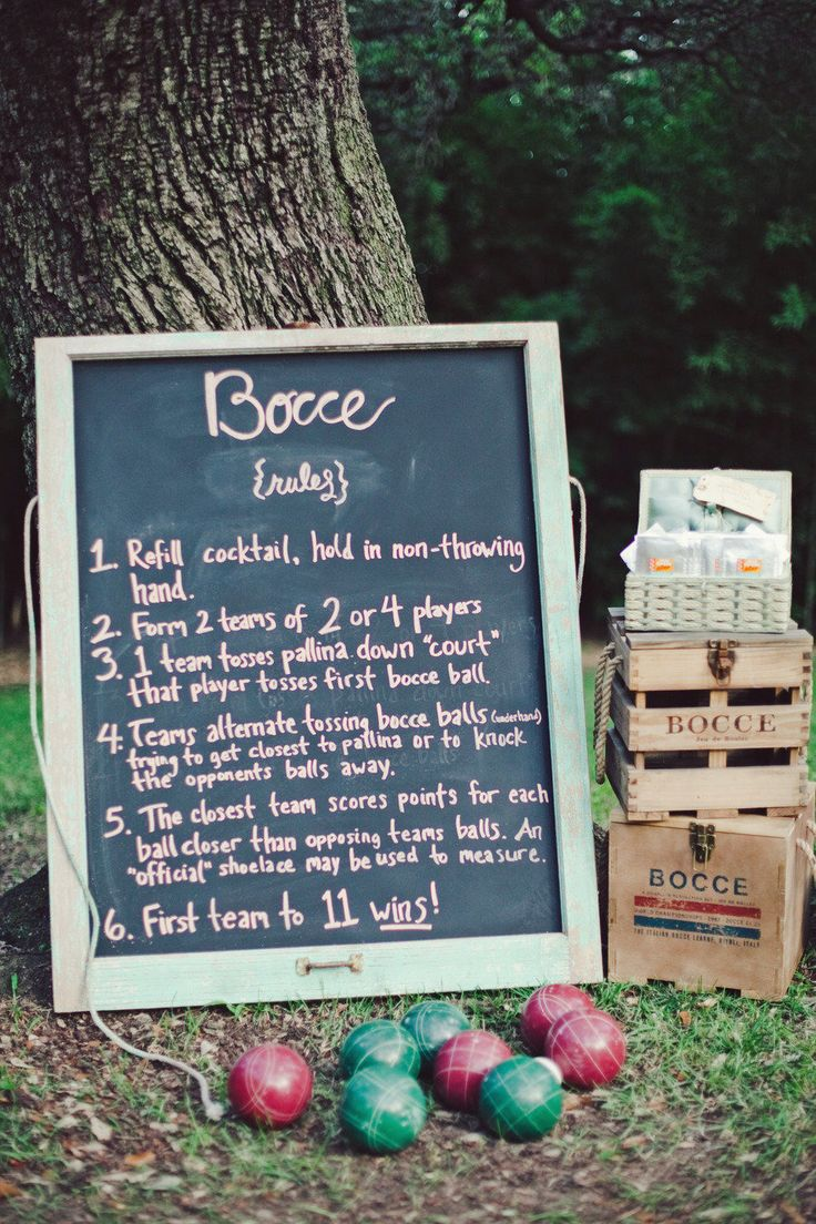 Bocce ball rules - cute sign Photography: The Nichols - jnicholsphoto.com