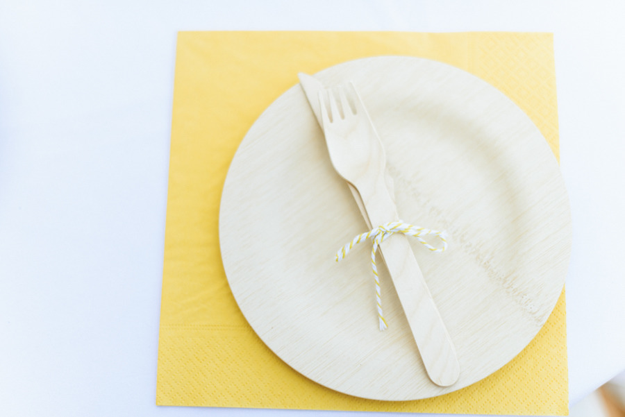 yellow place setting