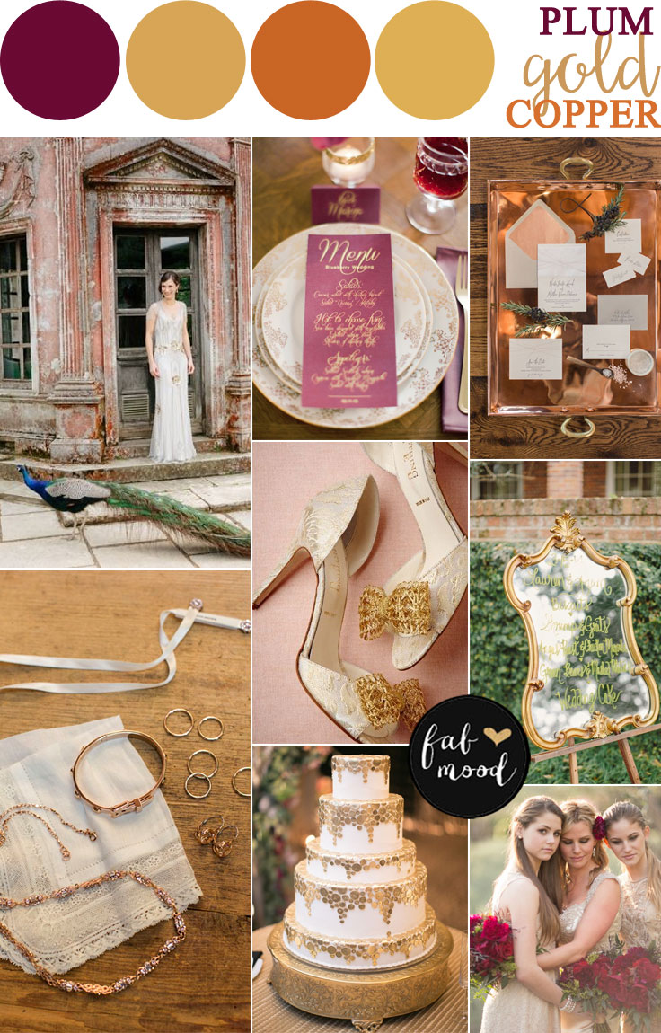 Vintage inspired weddings | Copper + Plum + Antique Gold Autumn Wedding | fabmood.com