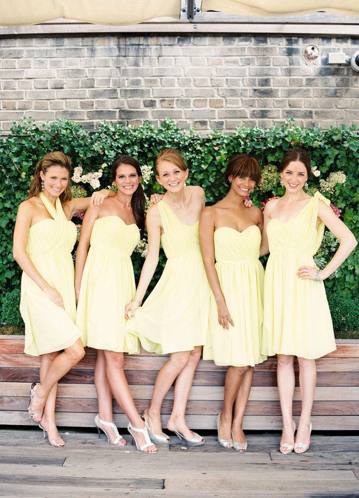 pale yellow bridesmaids dresses : fabmood.com