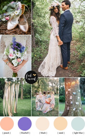 Bohemian Peach and Bluebell Wedding Colour | fabmood.com