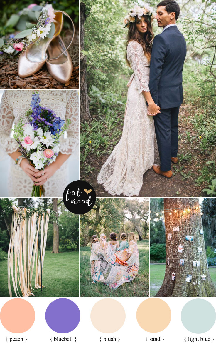 Bohemian Peach, Bluebell Wedding Colour + Floral Crown| fabmood.com
