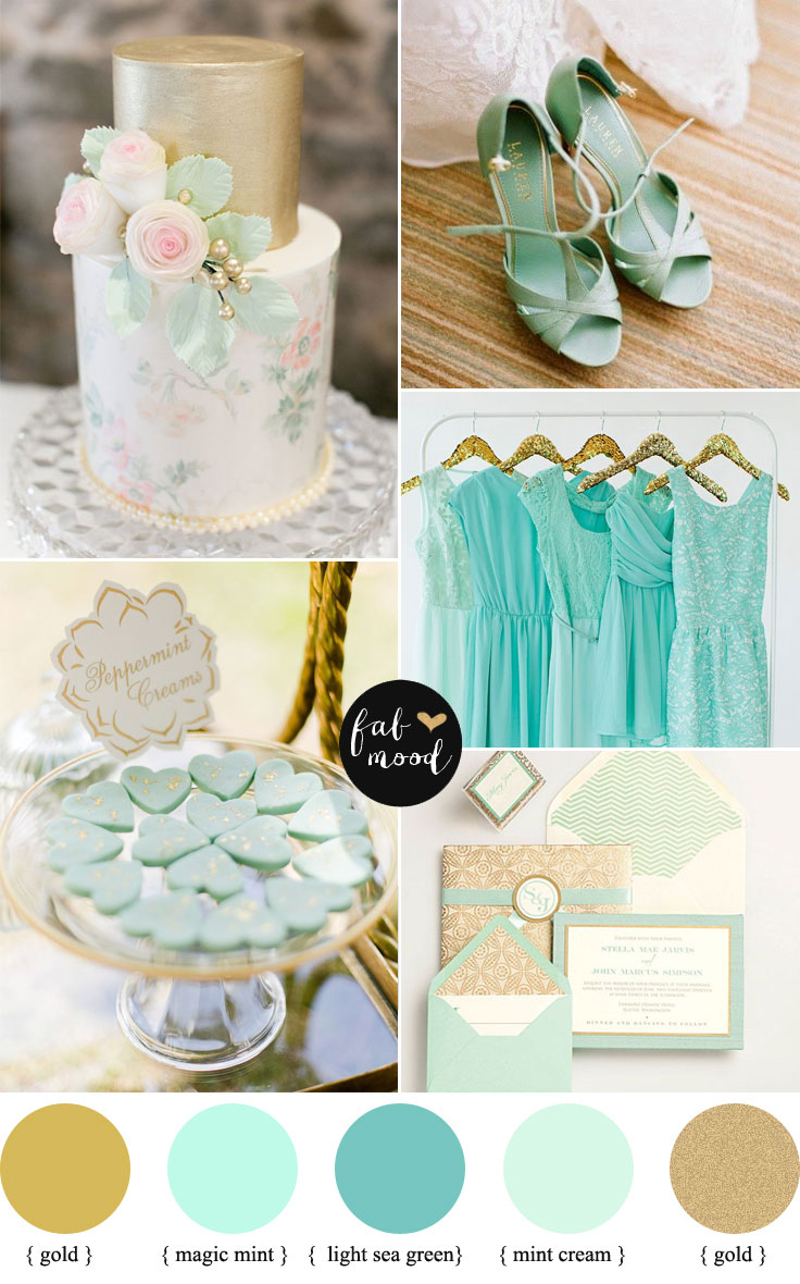 { magic mint + light sea green + mint cream } Shades of mint and gold palette | fabmood.com