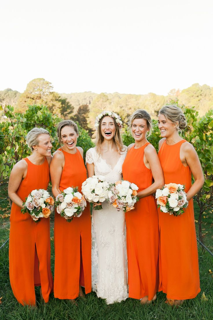 Orange bridesmaid dresses add a fresh fun colour for Spring wedding bridesmaid dress colors