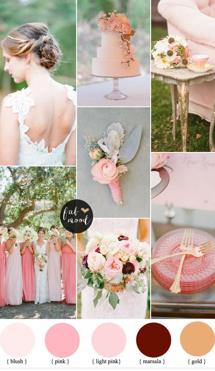 Blush Pink Marsala Wedding Inspiration   fabmood.com