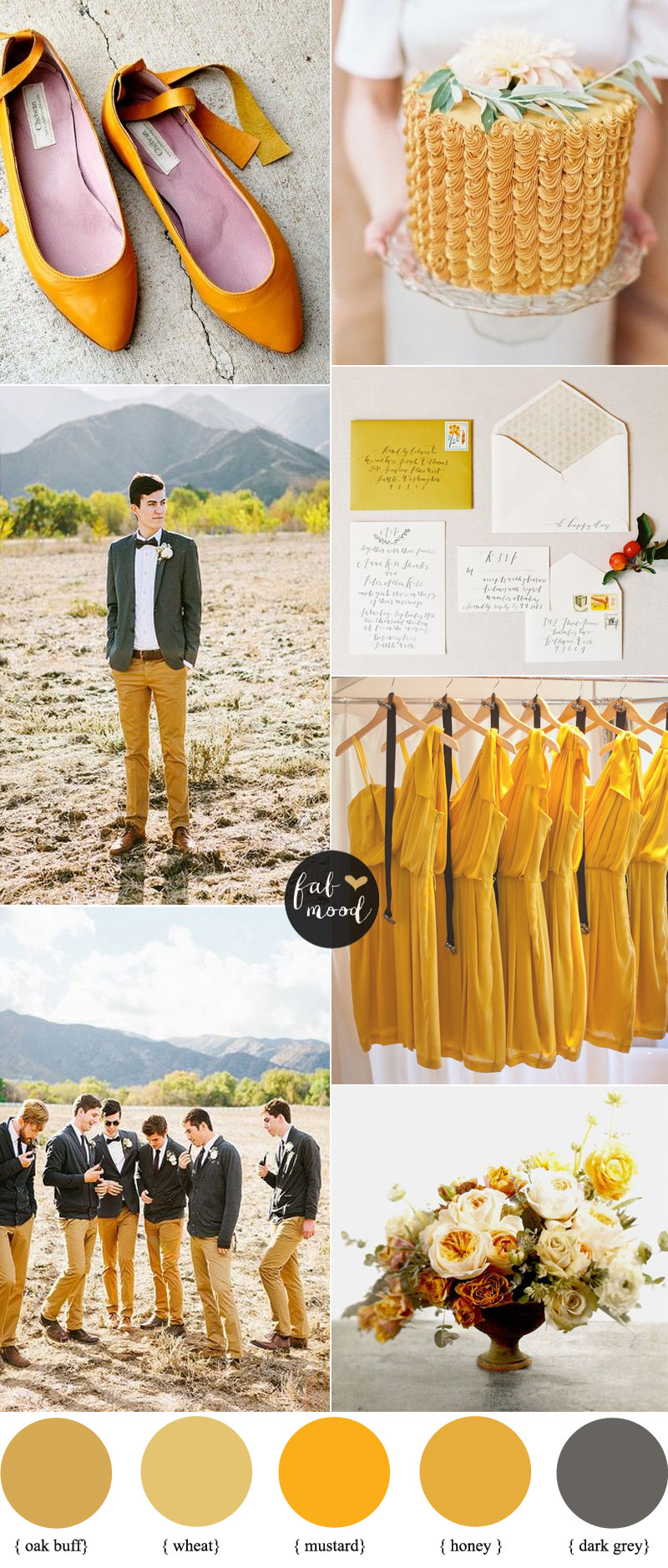Oak Buff , Mustard and Grey Wedding | Pantone Fall 2015 inspired | fabmood.com