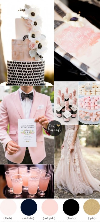 Black and Blush Pink Wedding Romantic Wedding Color Scheme | fabmood.com
