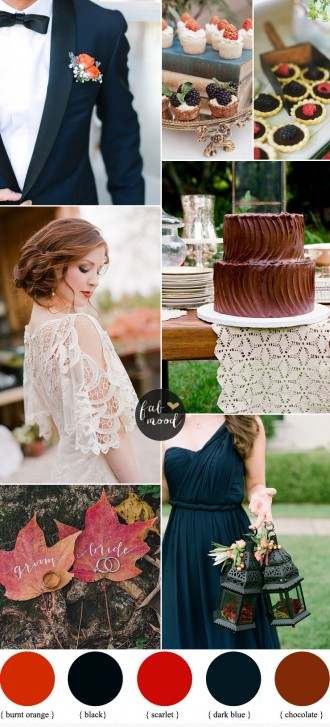 Black brown dark blue and scarlet wedding | fabmood.com