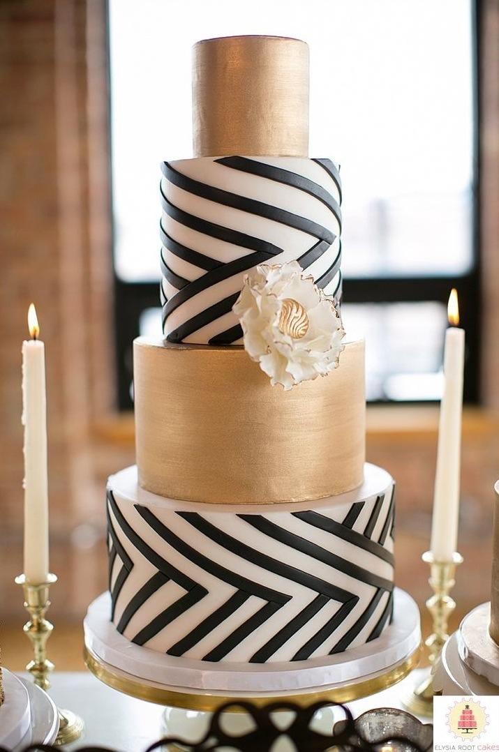 Black White And Gold Wedding Cake
