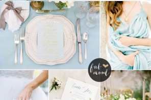 Gold Peach blue sky wedding | fabmood.com