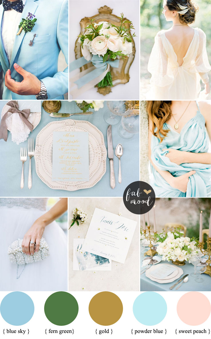 Soft Peach, gold and Blue Sky Wedding