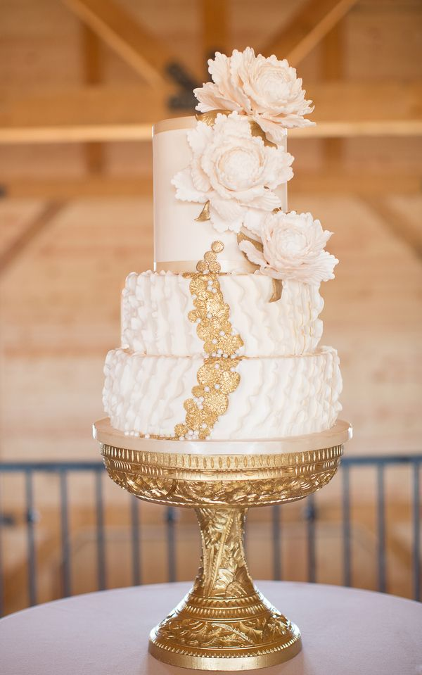 wedding cakes with gold accents spark and shine your day - ivory and gold three tiered cake | fabmood.com