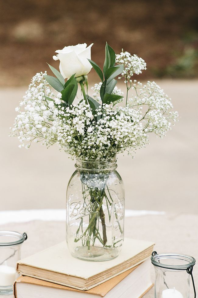 Unique wedding reception ideas on a budget – Baby's breath and roses in a mason jar