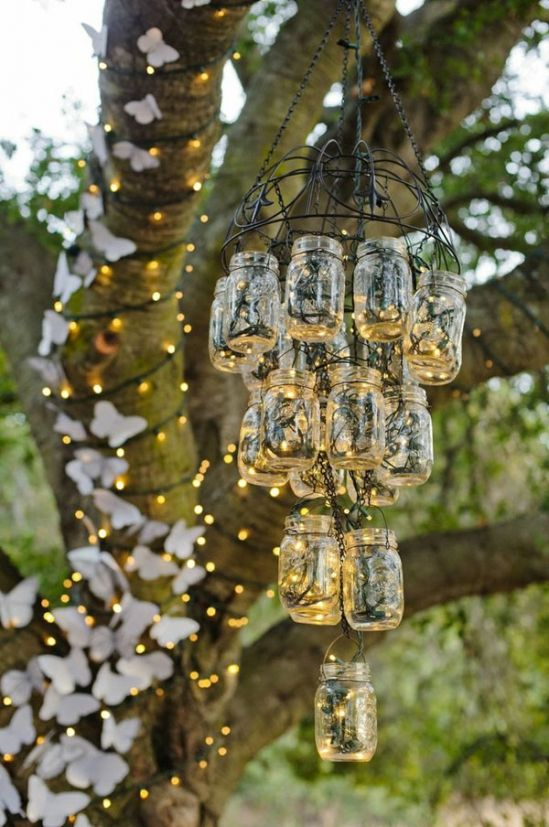 19 Ways To Have A Fabulous Wedding On A budget –  Mason Jar light used as Chandelier