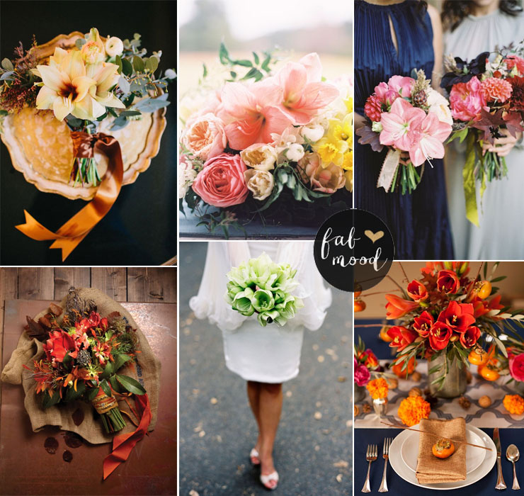 Amaryllis bouquet - Fall Wedding Flower Colors Ideas | fabmood.com #amaryllis #fallweddingflowers