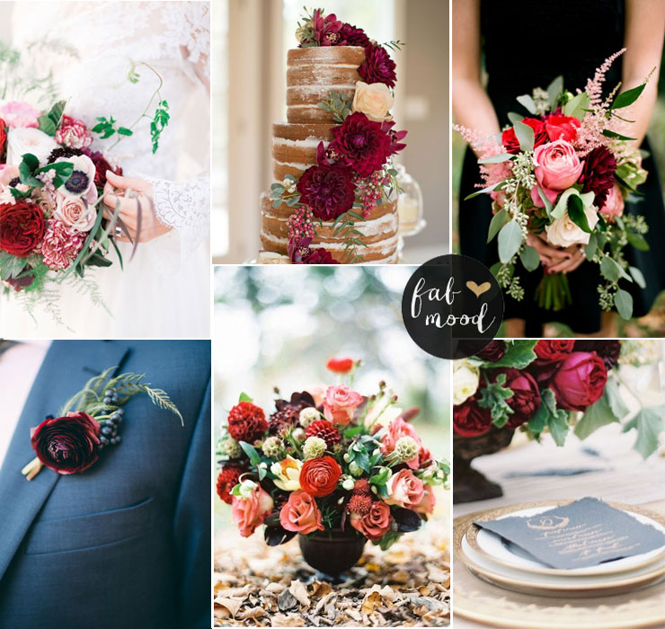 Autumn wedding palette - Autumn wedding flowers with burgundy details | fabmood.com