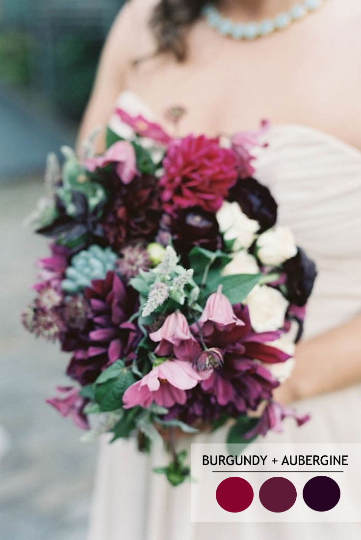 burgundy aubergine plum | 18 Fall Wedding Color Palettes | fabmood.com