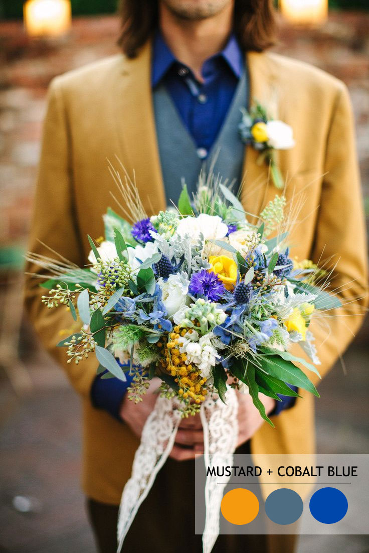 Mustard and cobalt blue - 18 Fall Wedding Color Palettes | Autumn wedding colour combinations | fabmood.com