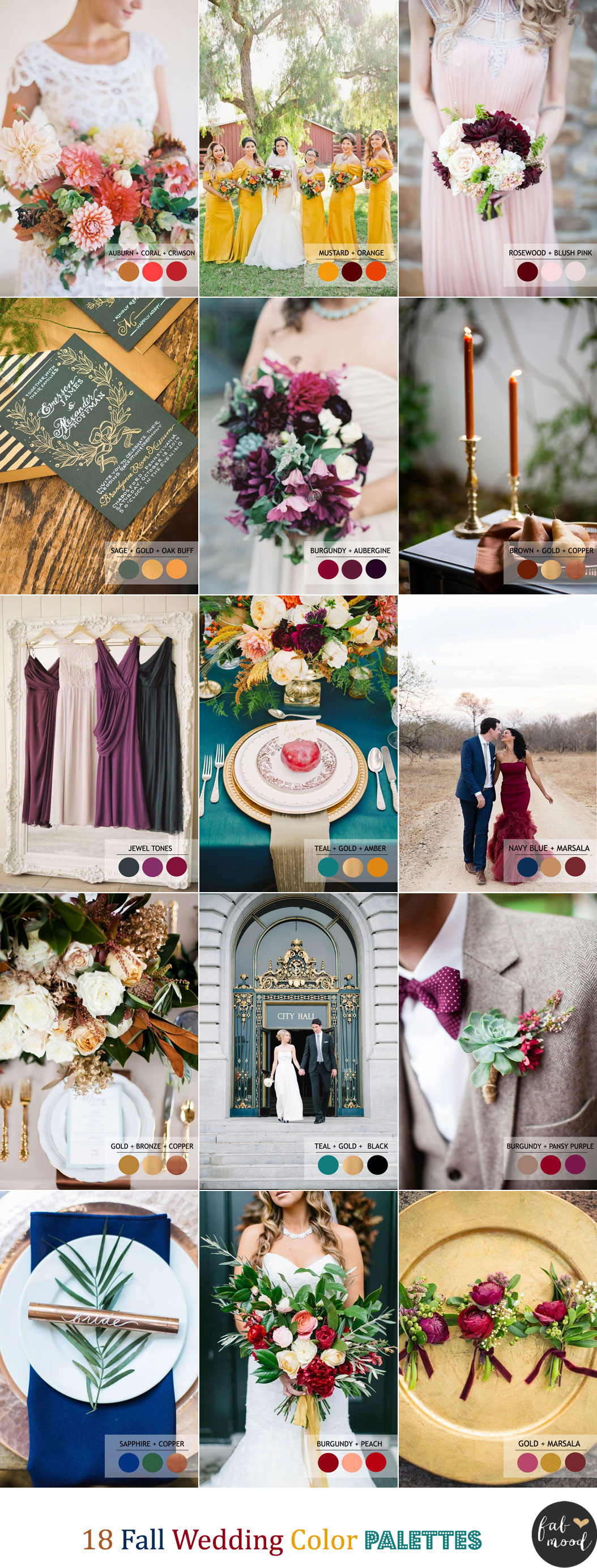 18 Fall Wedding Color Palettes | Autumn wedding colour combinations | fabmood.com