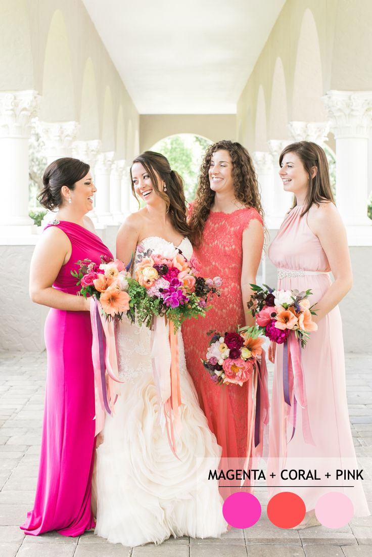 Mix and Match Bridesmaid Dresses by Colours | https://www.fabmood.com/mix-and-match-bridesmaid-dresses-by-colours #bridesmaids