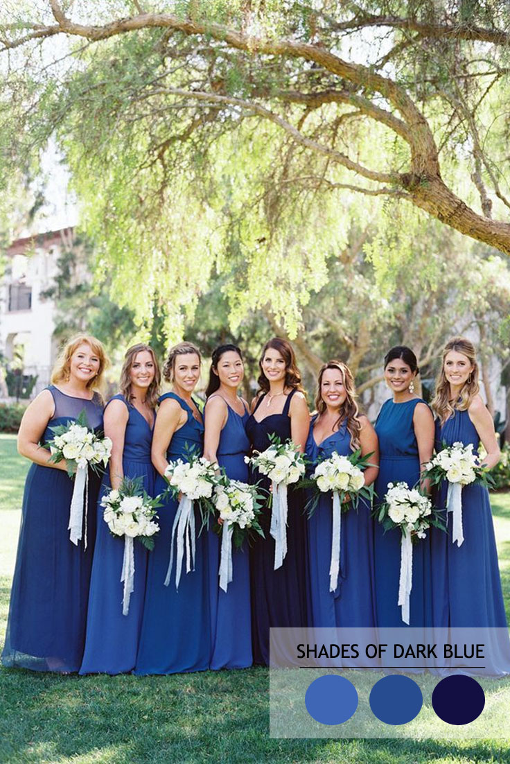 Shades of blue dresses bridesmaid variation