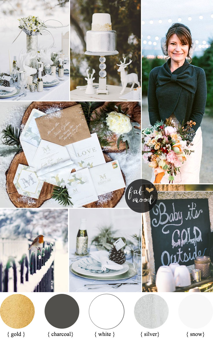 Winter Wonderland Wedding Theme,Charcoal ,white, metallic